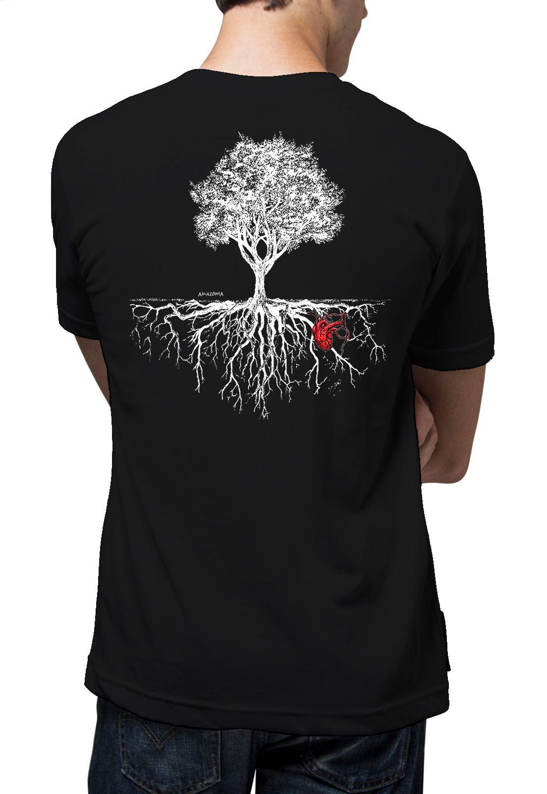 Camiseta Amazônia Árvore Coração da Natureza - Preto