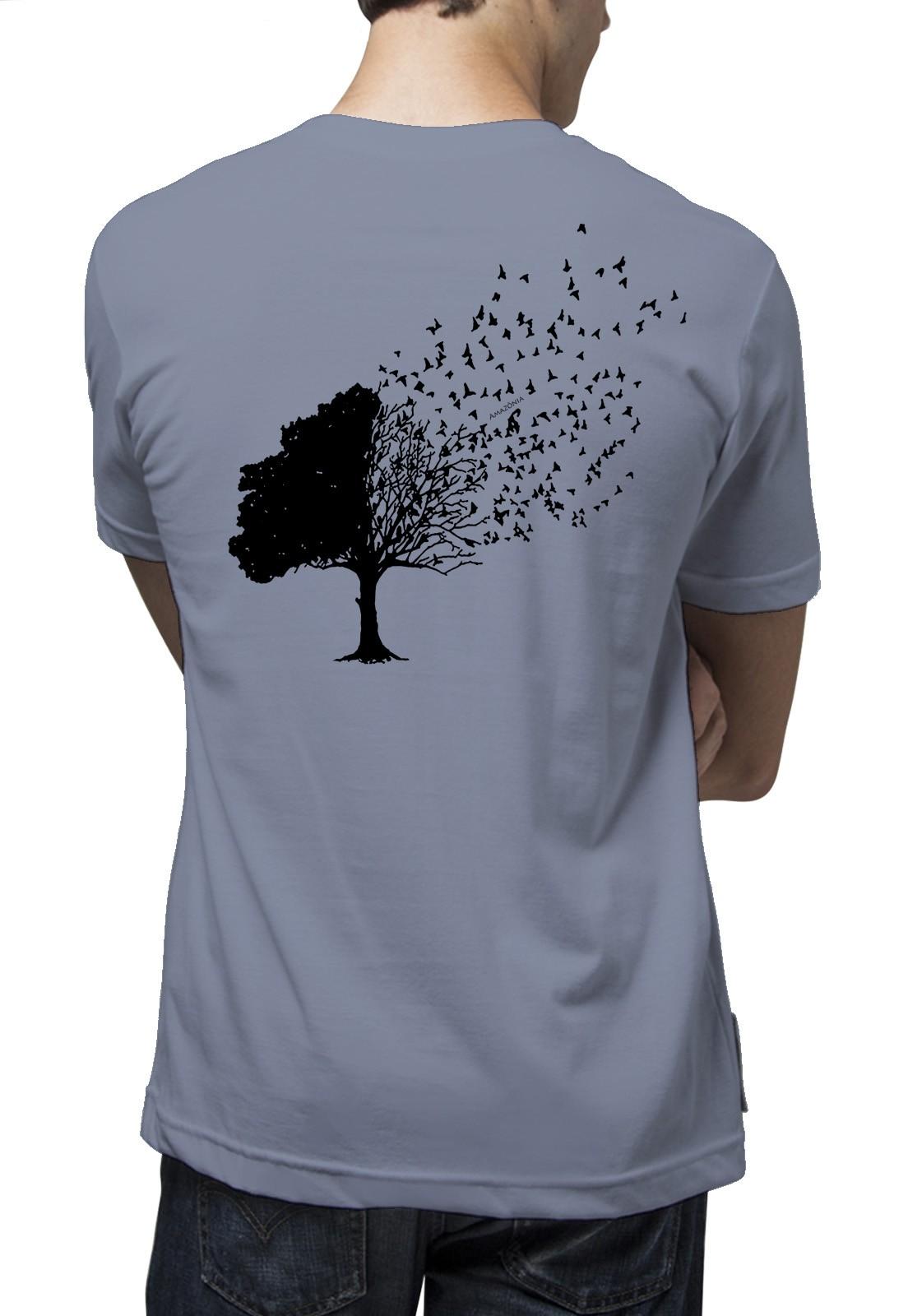 Camiseta Amazônia Árvore Pássaros - Azul