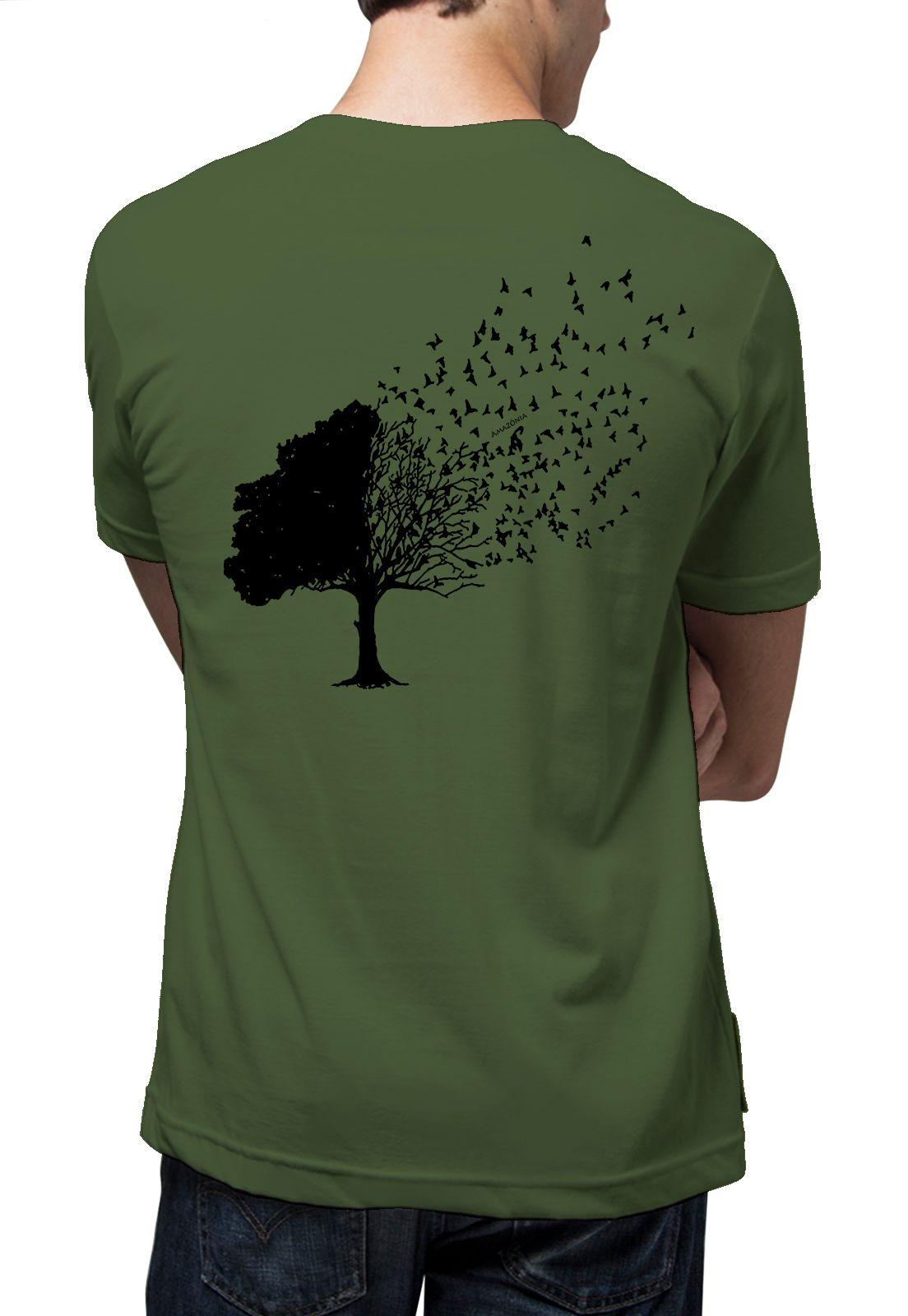 Camiseta Amazônia Árvore Pássaros - Verde Escuro