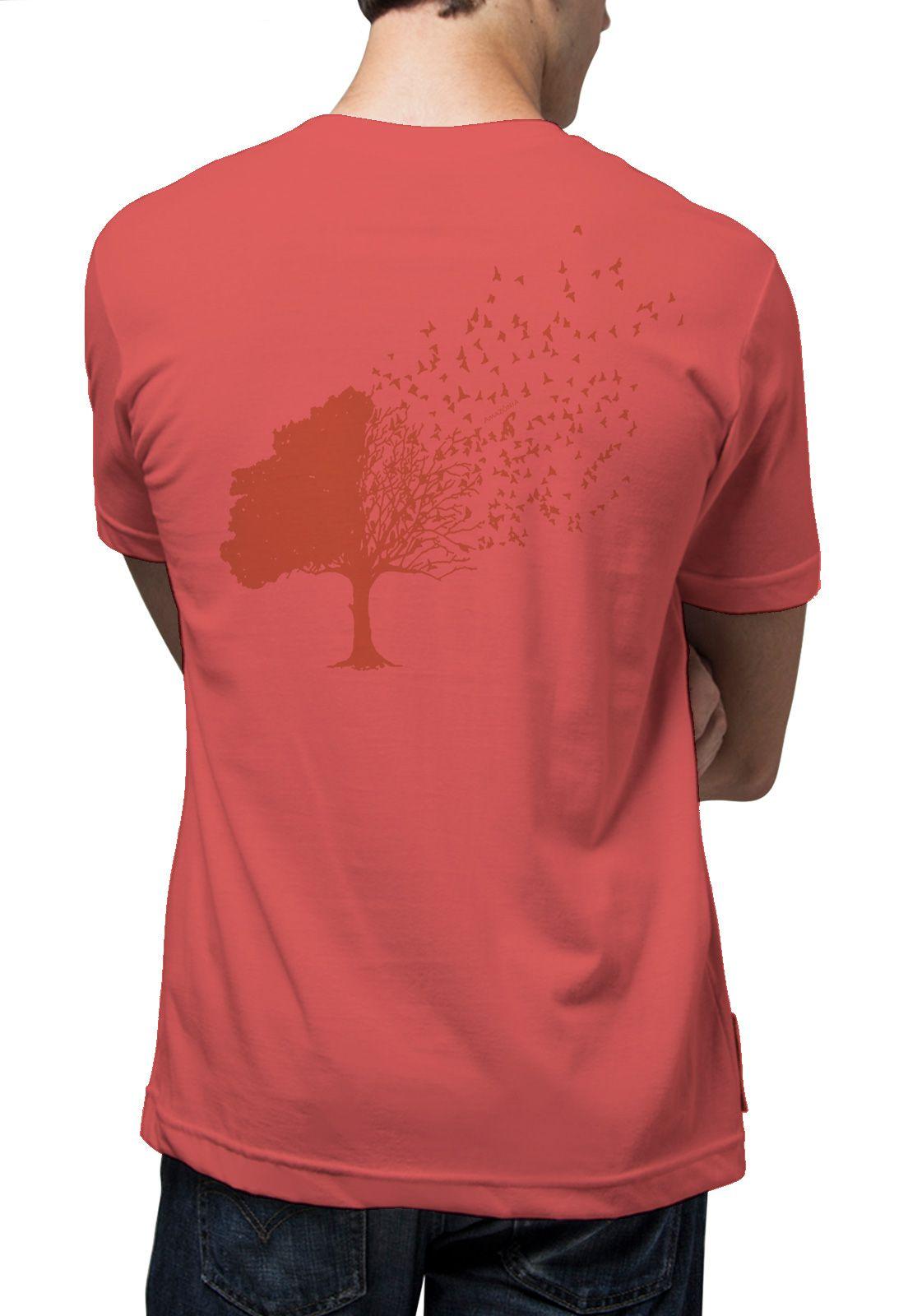 Camiseta Amazônia Árvore Pássaros - Vermelho