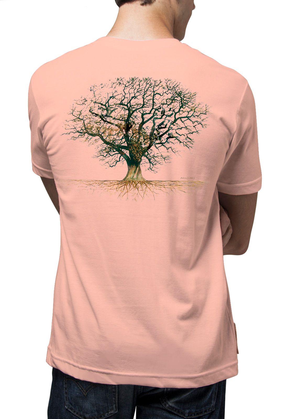 Camiseta Amazônia Árvore Roots - Salmão