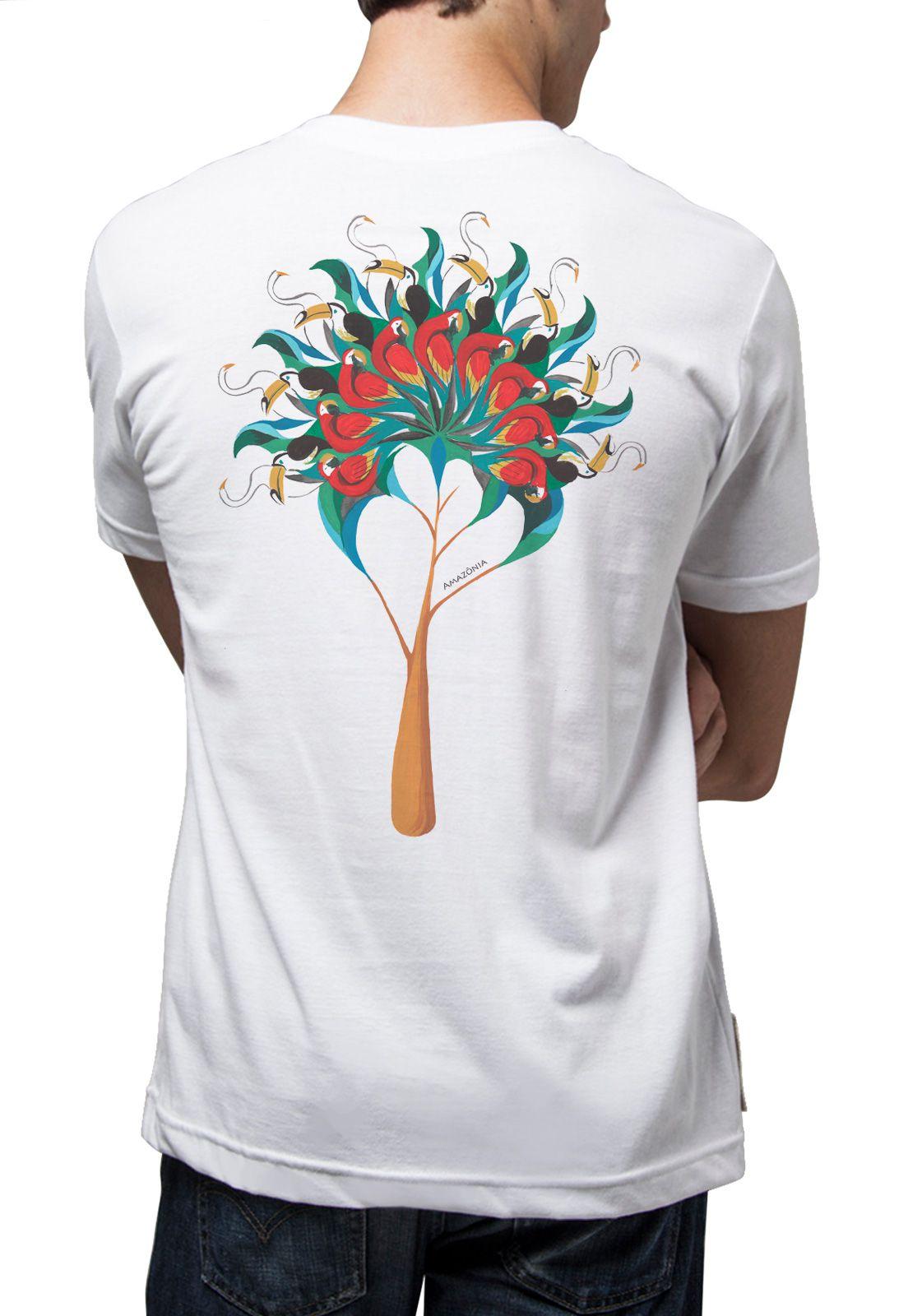 Camiseta Amazônia Aves Árvore - Branco