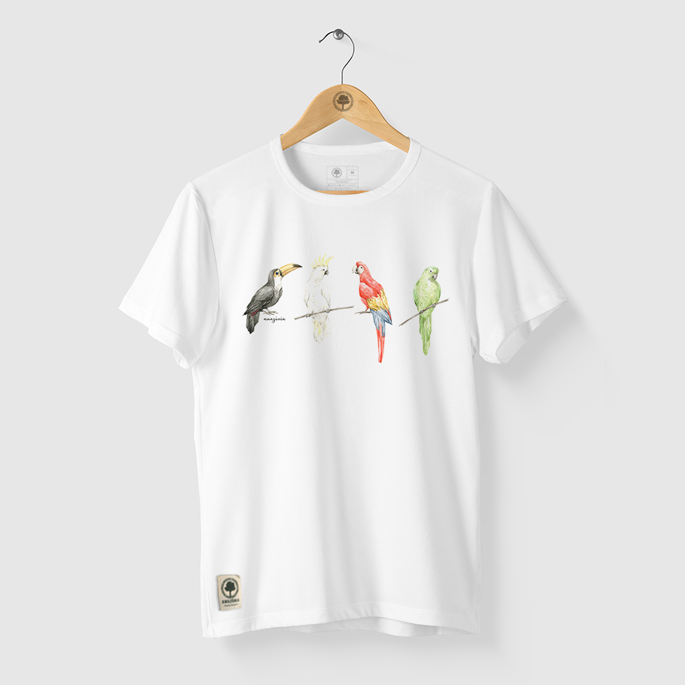 Camiseta Amazônia AVES CORES - BRANCO
