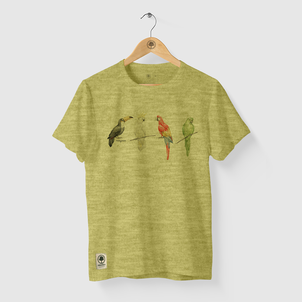 Camiseta Amazônia AVES CORES - MESCLA AMARELO
