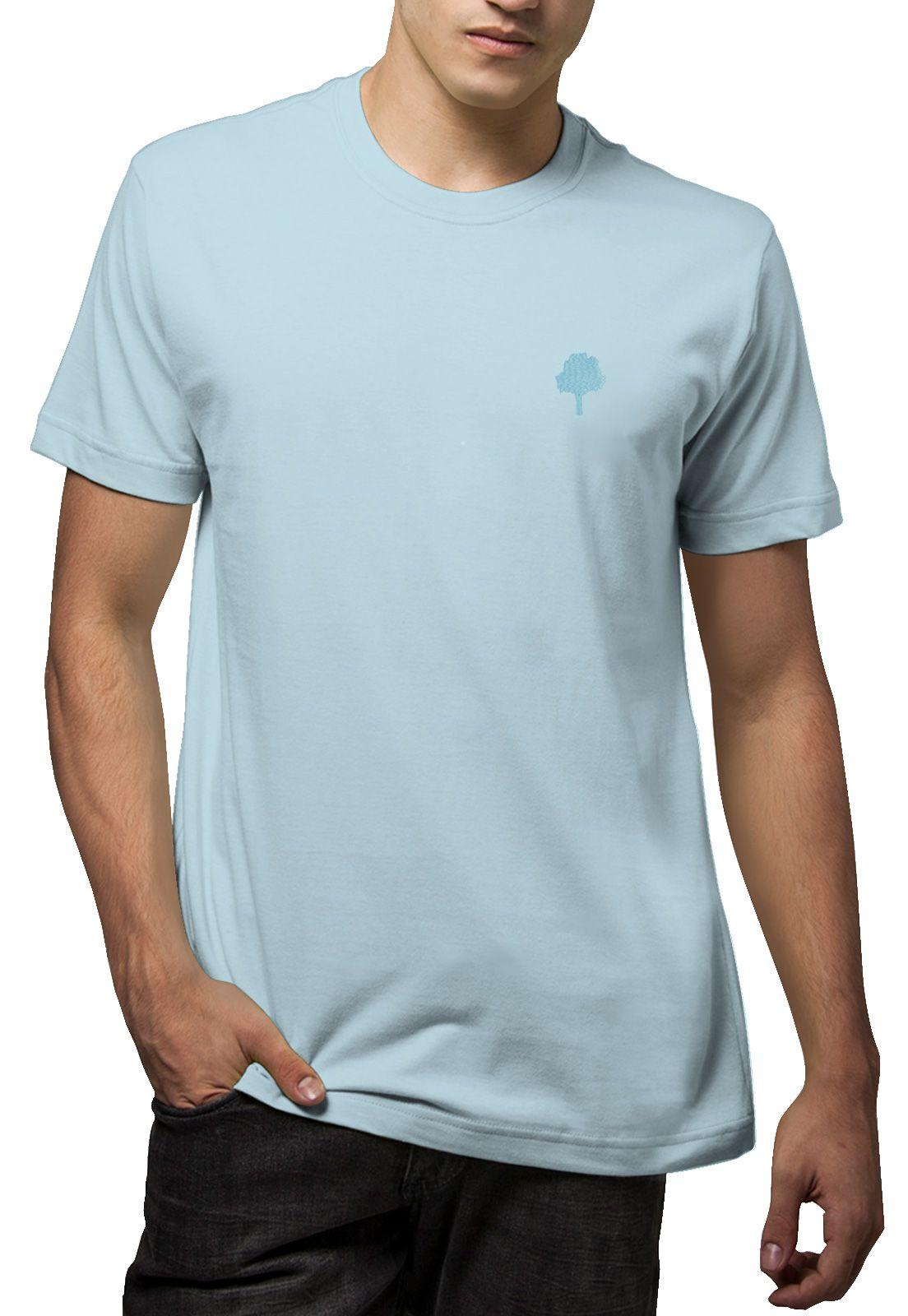 Camiseta Amazônia Básica Árvore Bordada - Azul Claro