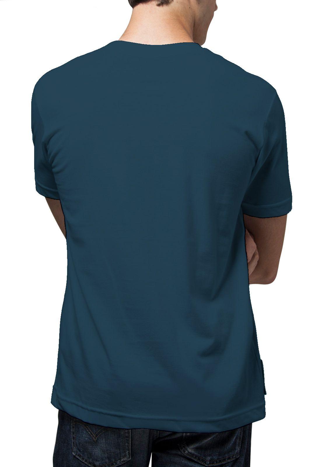 Camiseta Amazônia Básica Árvore Bordada - Azul Escuro