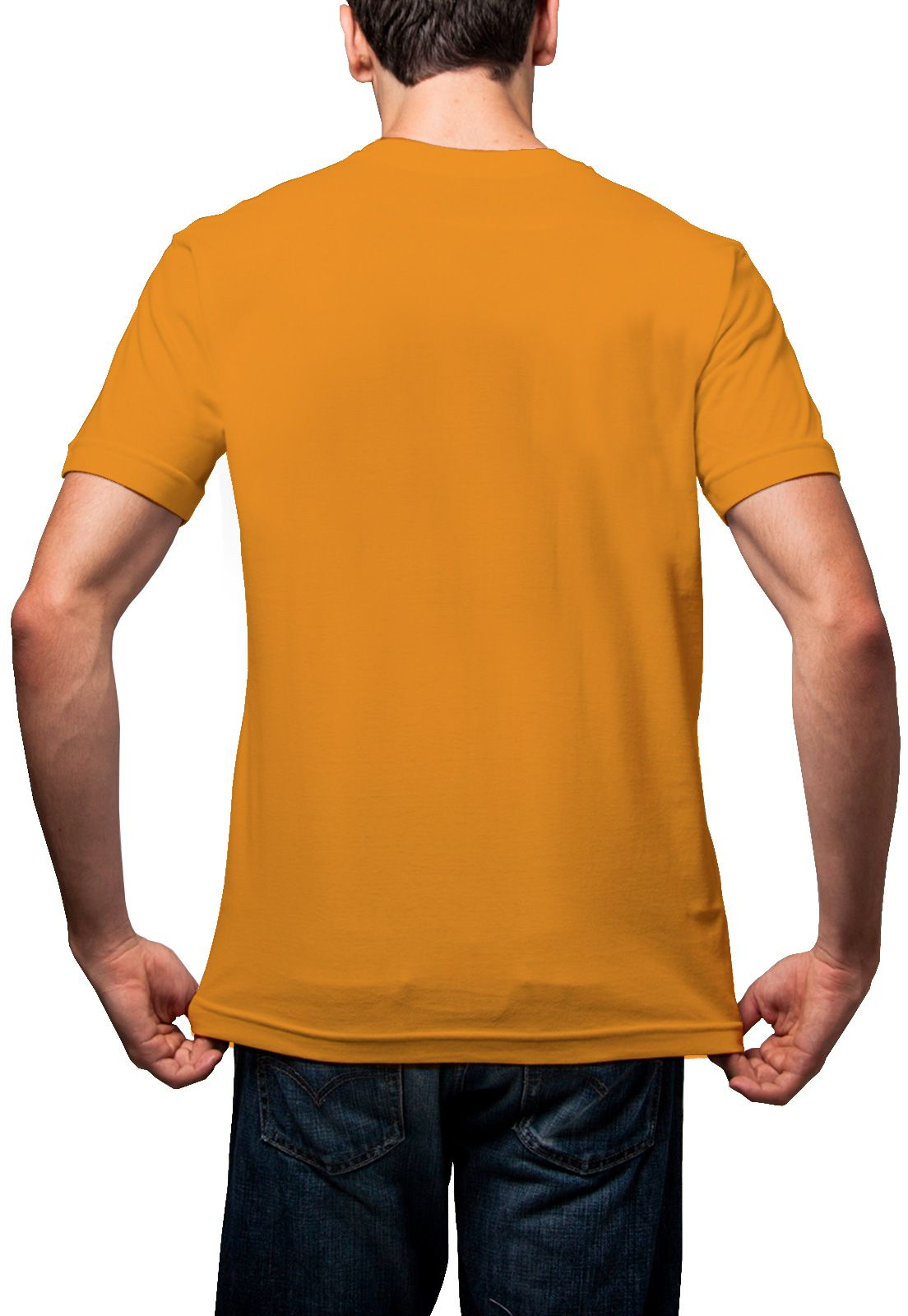 Camiseta Amazônia Básica Árvore Bordada Gola V - Amarelo Escuro