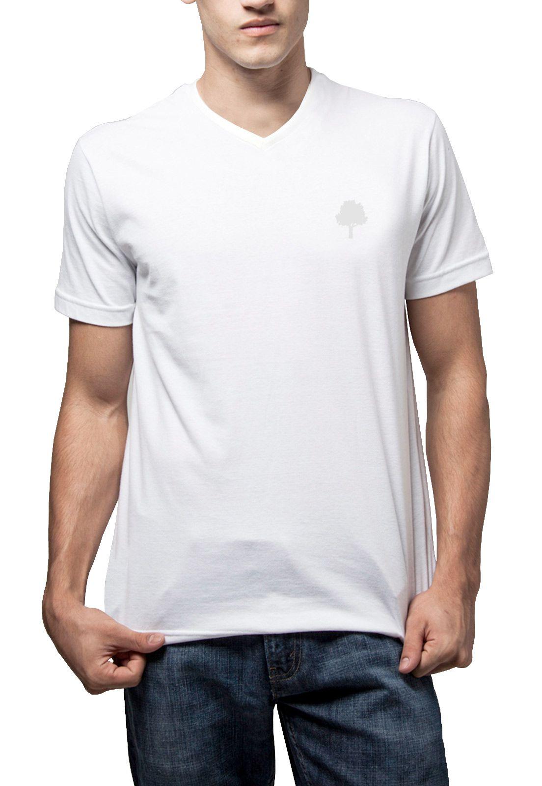 Camiseta Amazônia Básica Árvore Bordada Gola V - Branco