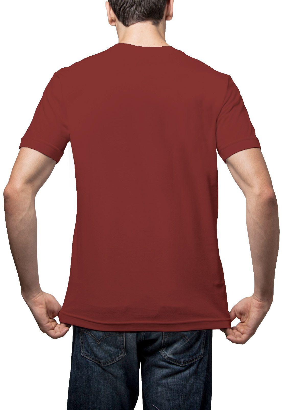 Camiseta Amazônia Básica Árvore Bordada Gola V - Vinho