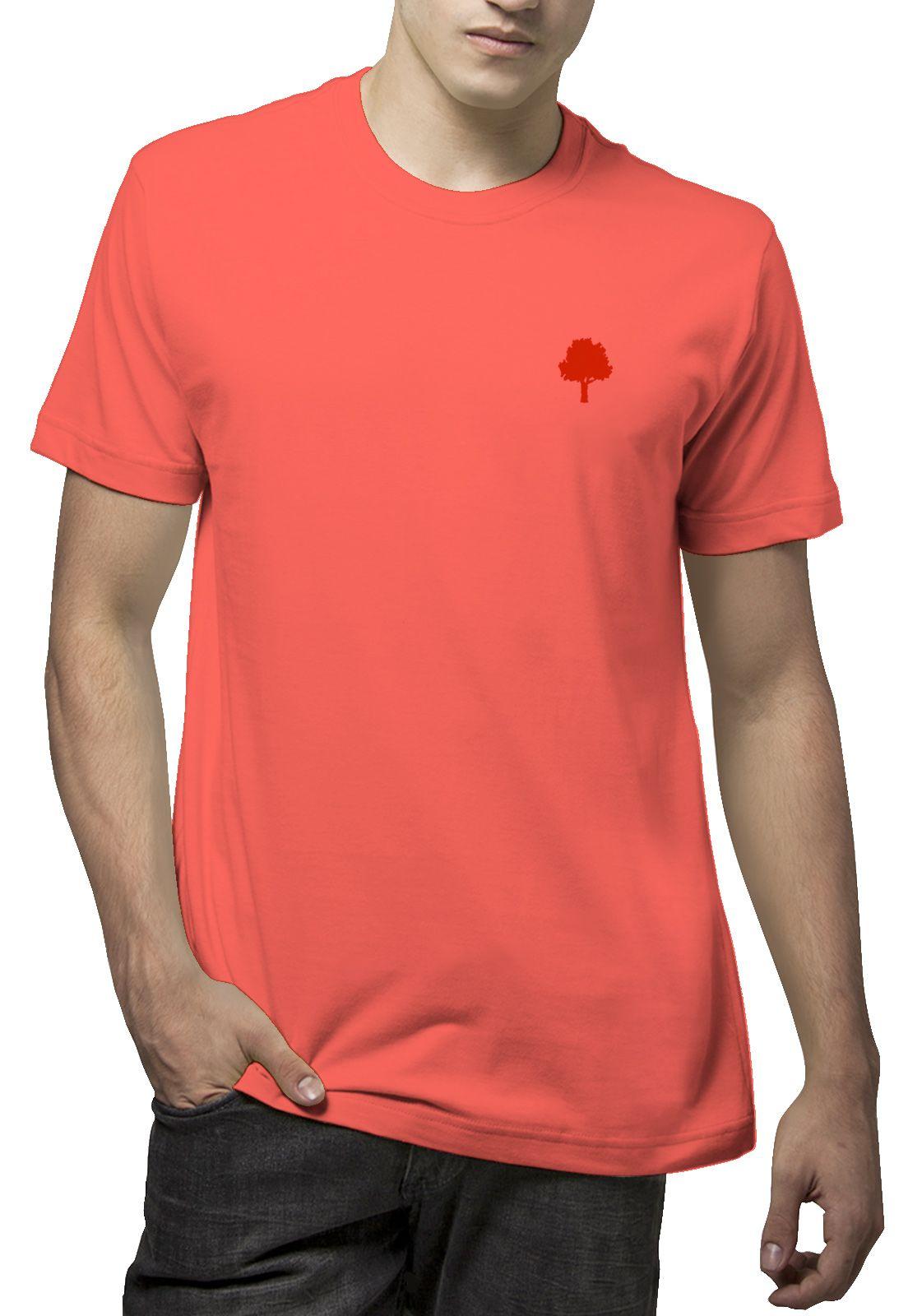 Camiseta Amazônia Básica Árvore Bordada - Vermelho Escuro Tamanho