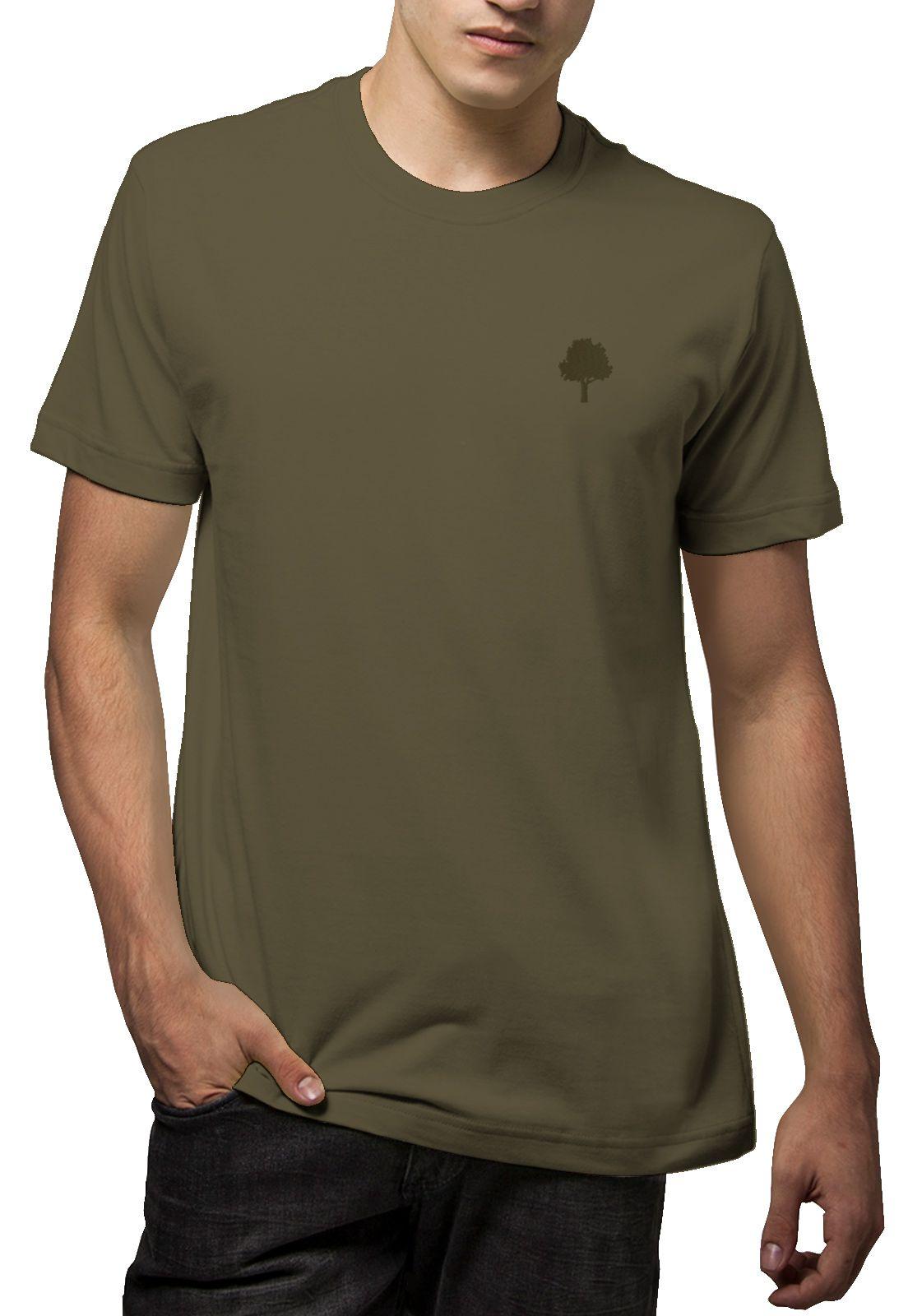 Camiseta Amazônia Básica Árvore Bordada - Verde Escuro