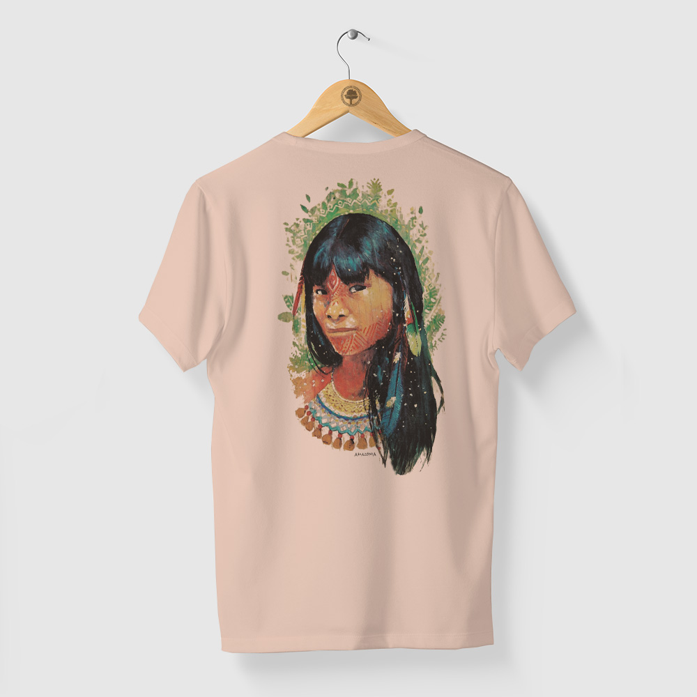 Camiseta Amazônia Beleza Indígena - Salmão