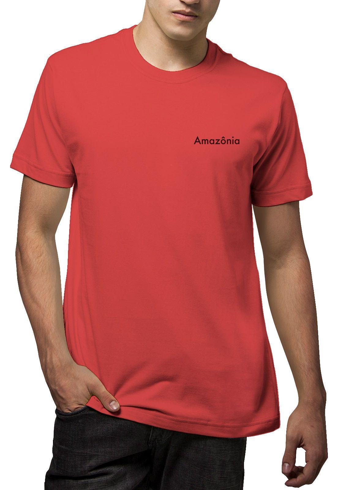 Camiseta Amazônia Bicolor Folha - Vermelho