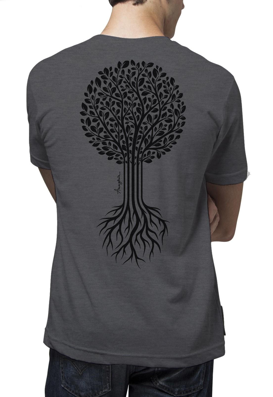 Camiseta Amazônia Bio Raíz - Mescla Escuro