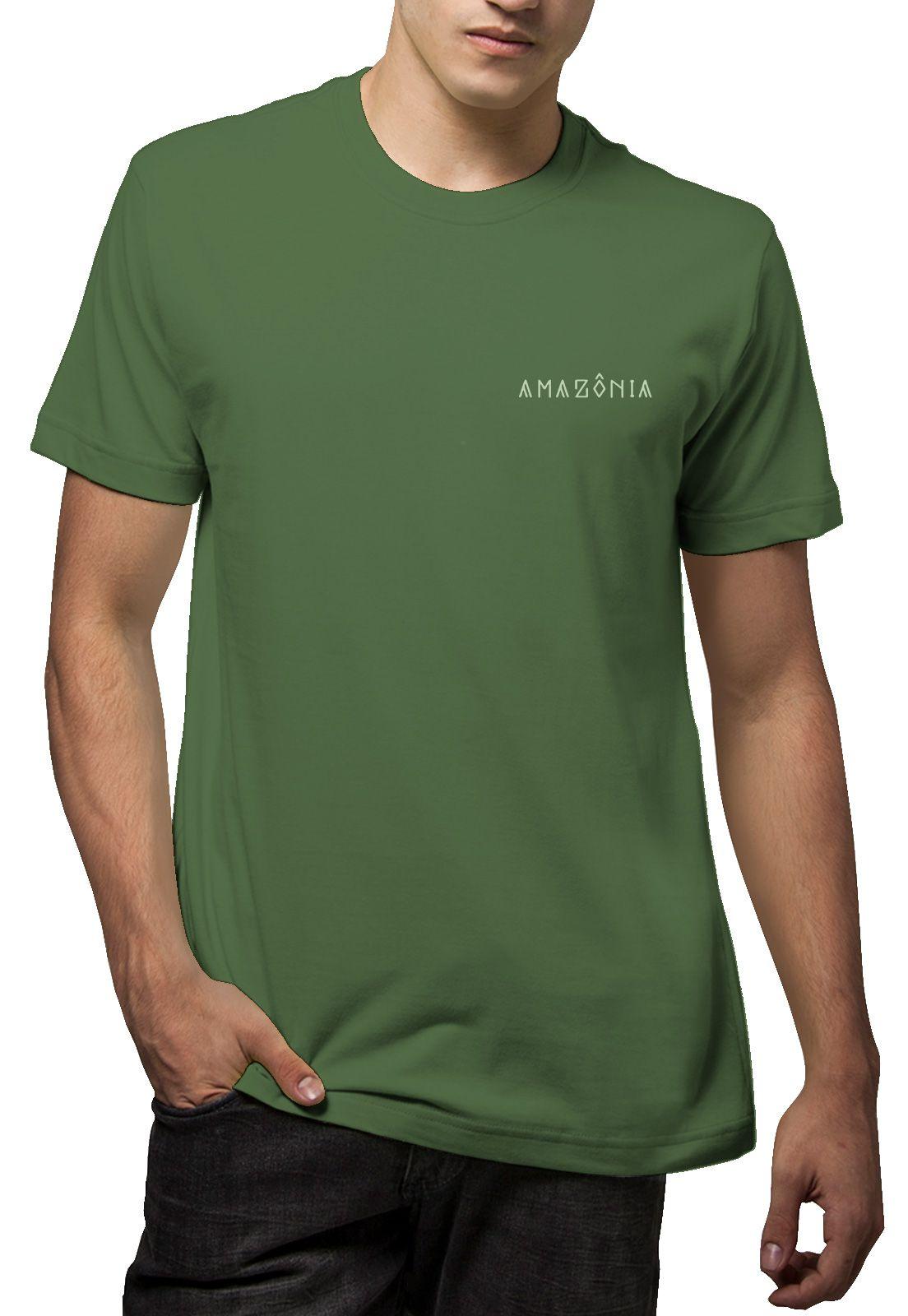 Camiseta Amazônia Biodiversidade - Verde Escuro