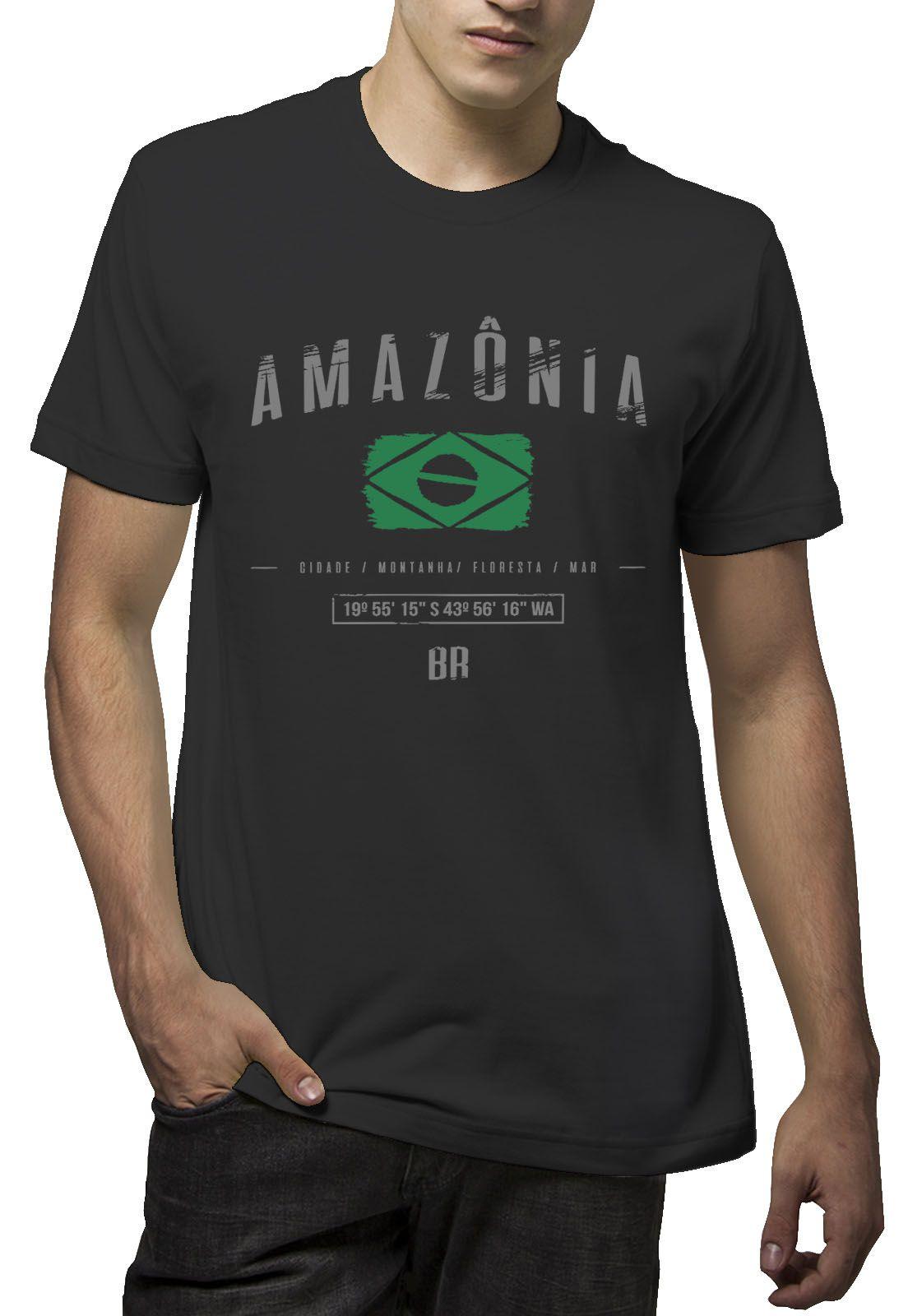 Camiseta Amazônia Brasil Elementos - Preto