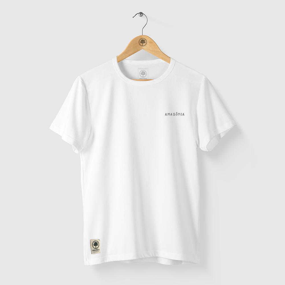 Camiseta Amazônia Cocar Indígena - Branco