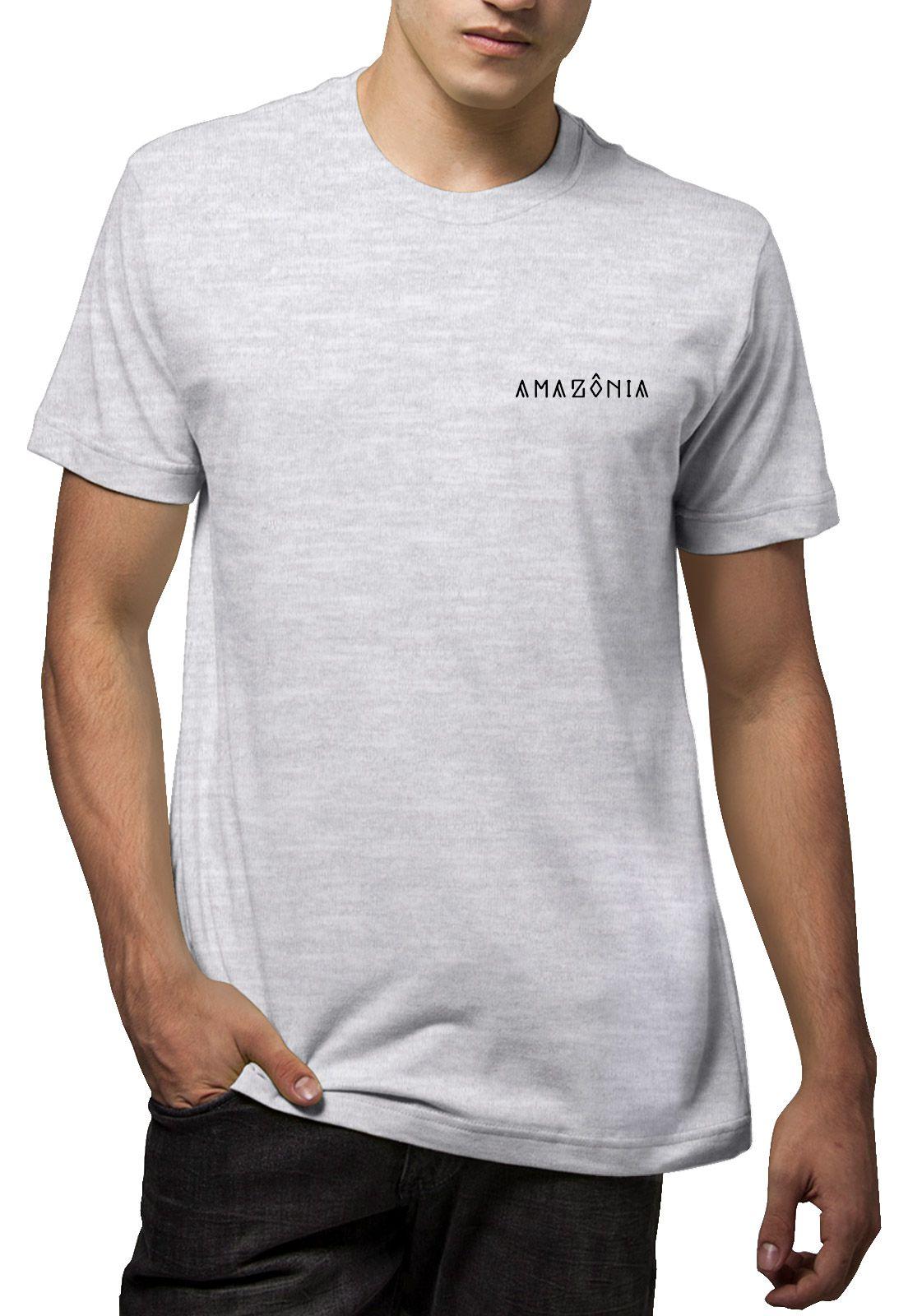 Camiseta Amazônia Cocar Indígena - Mescla Claro