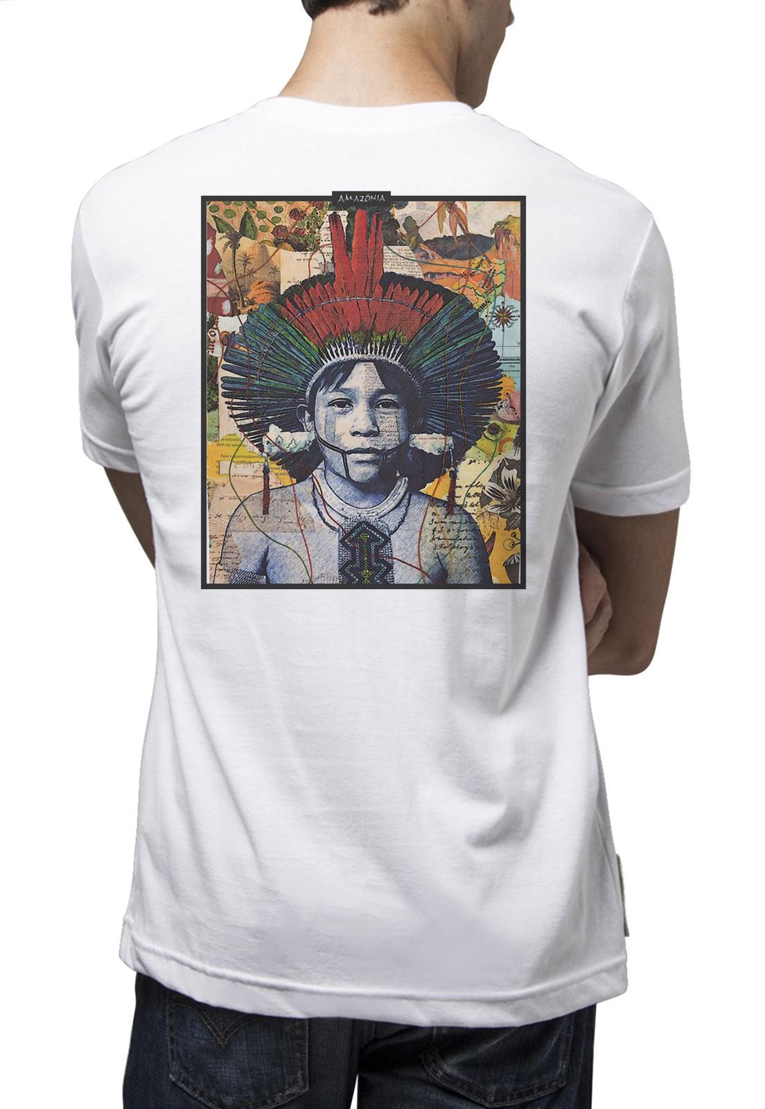 Camiseta Amazônia Color Índio - Branco