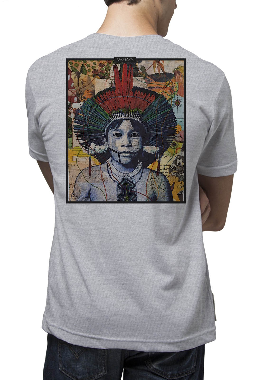Camiseta Amazônia Color Índio - Mescla