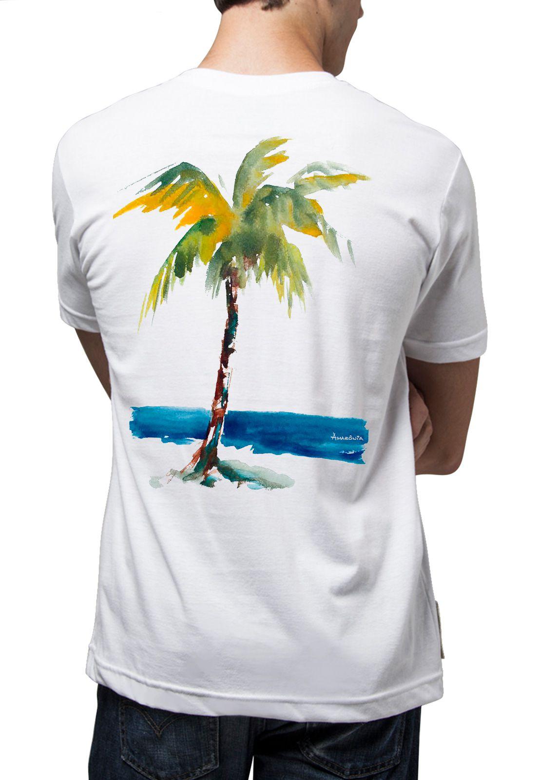 Camiseta Amazônia Coqueiro e Mar - Branco