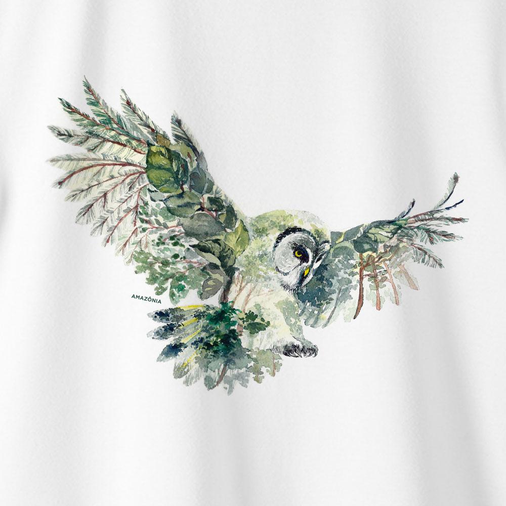Camiseta Amazônia CORUJA FLORESTA - BRANCO