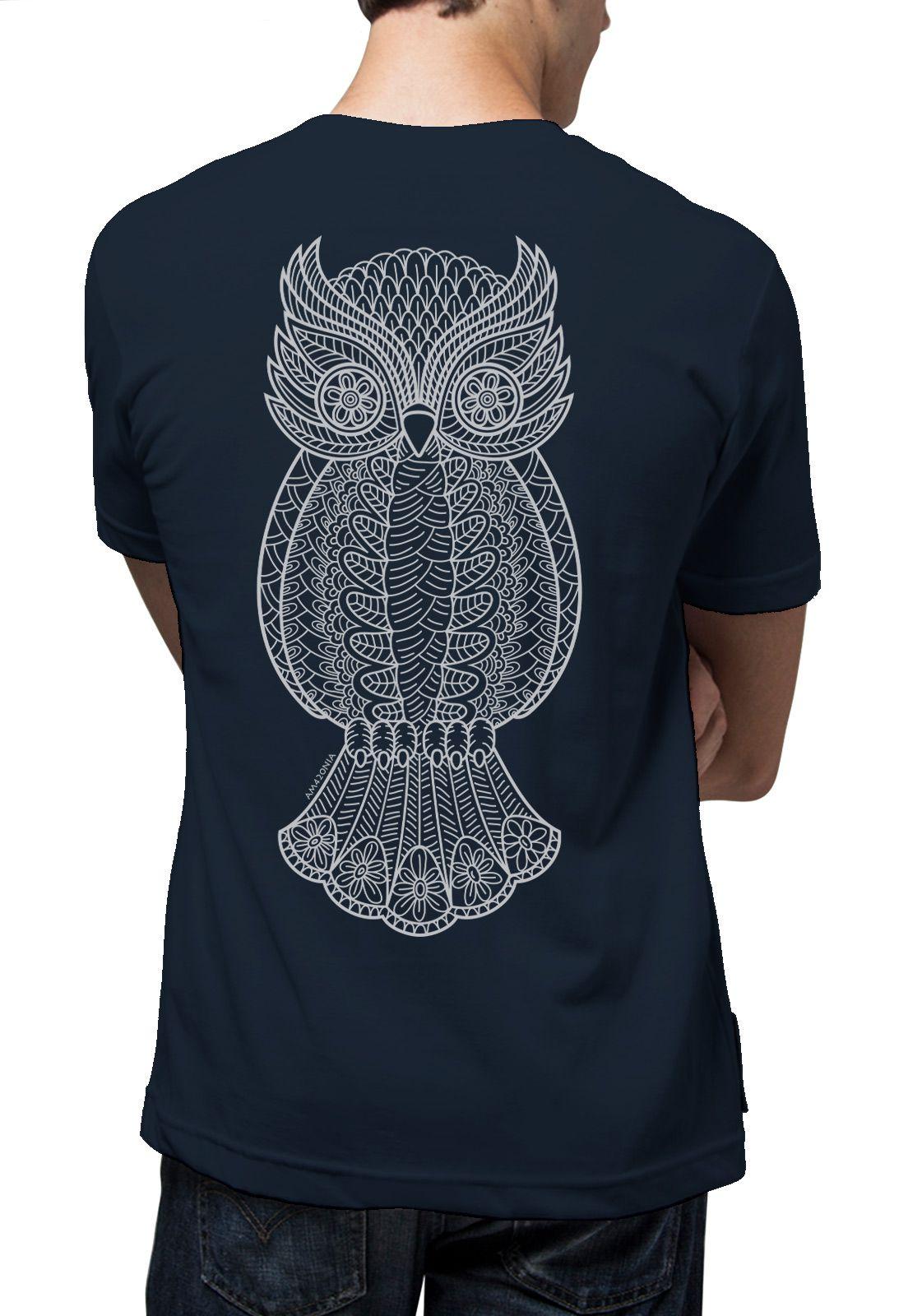 Camiseta Amazônia Coruja Grafismo - Azul Escuro
