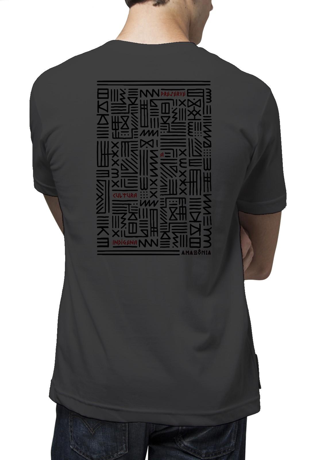 Camiseta Amazônia Cultura Indígena - Cinza Escuro