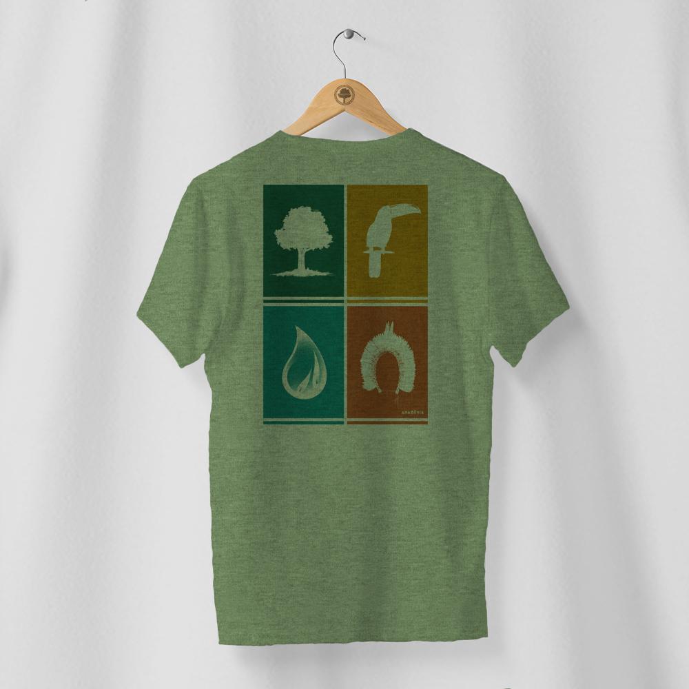 Camiseta Amazônia ELEMENTOS - MESCLA VERDE
