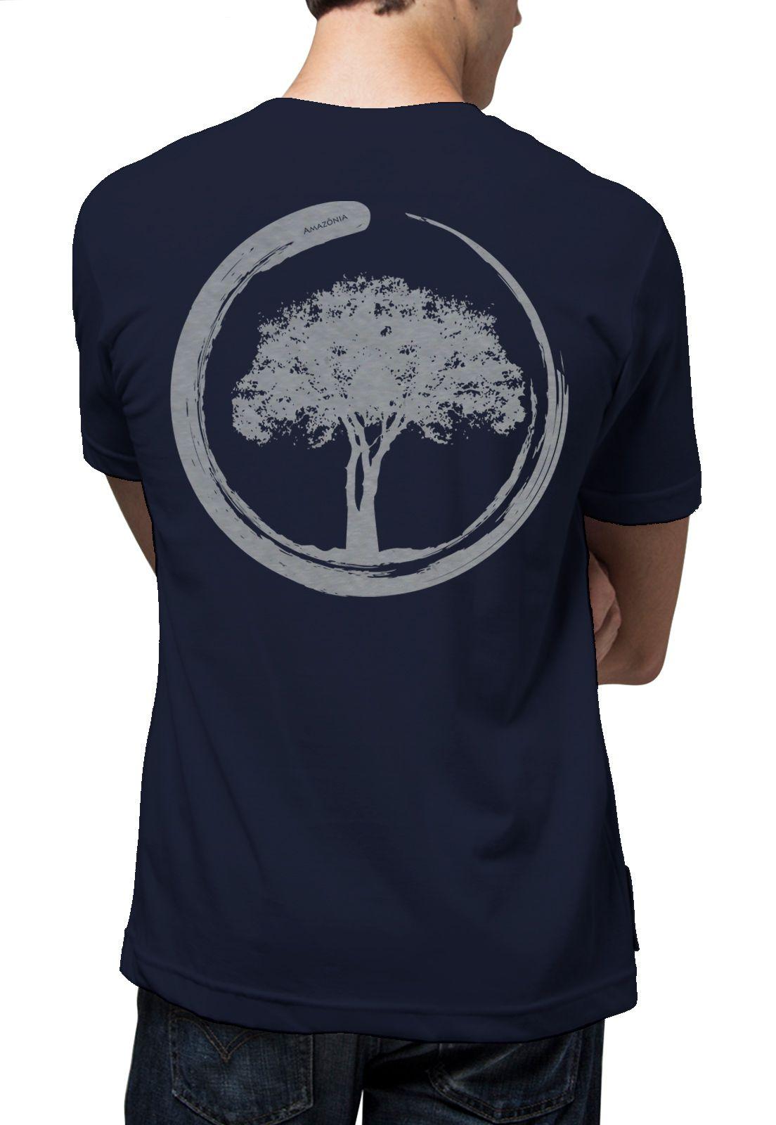 Camiseta Amazônia Energia Árvore - Azul Escuro