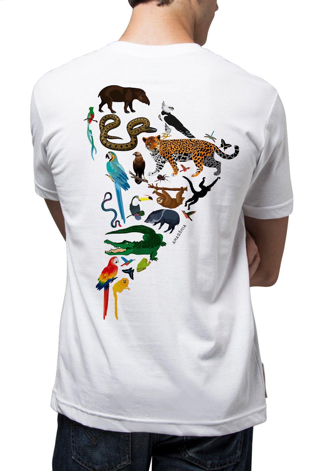 Camiseta Amazônia Fauna Mapa - Branco