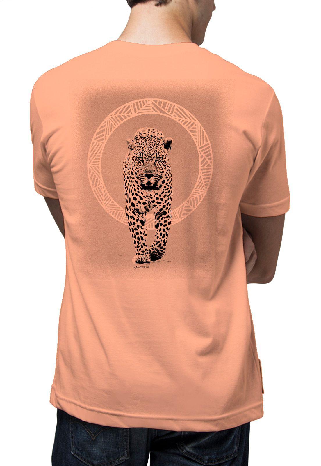 Camiseta Amazônia Felino - Salmão