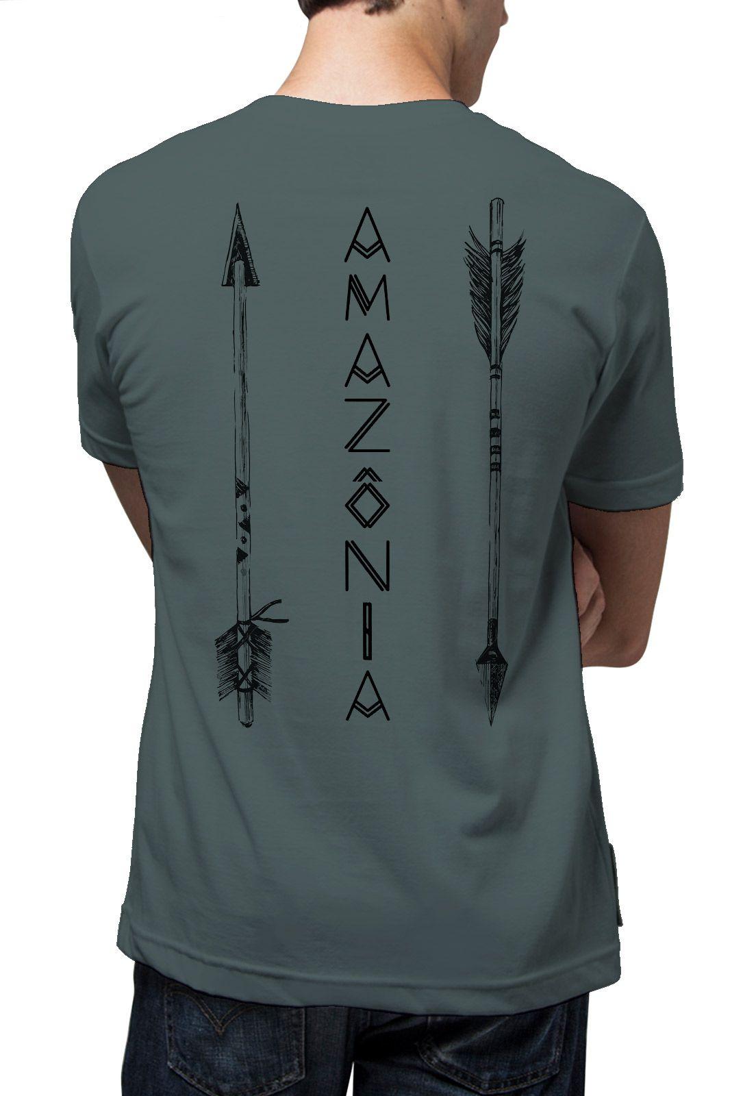 Camiseta Amazônia Flechas - Cinza