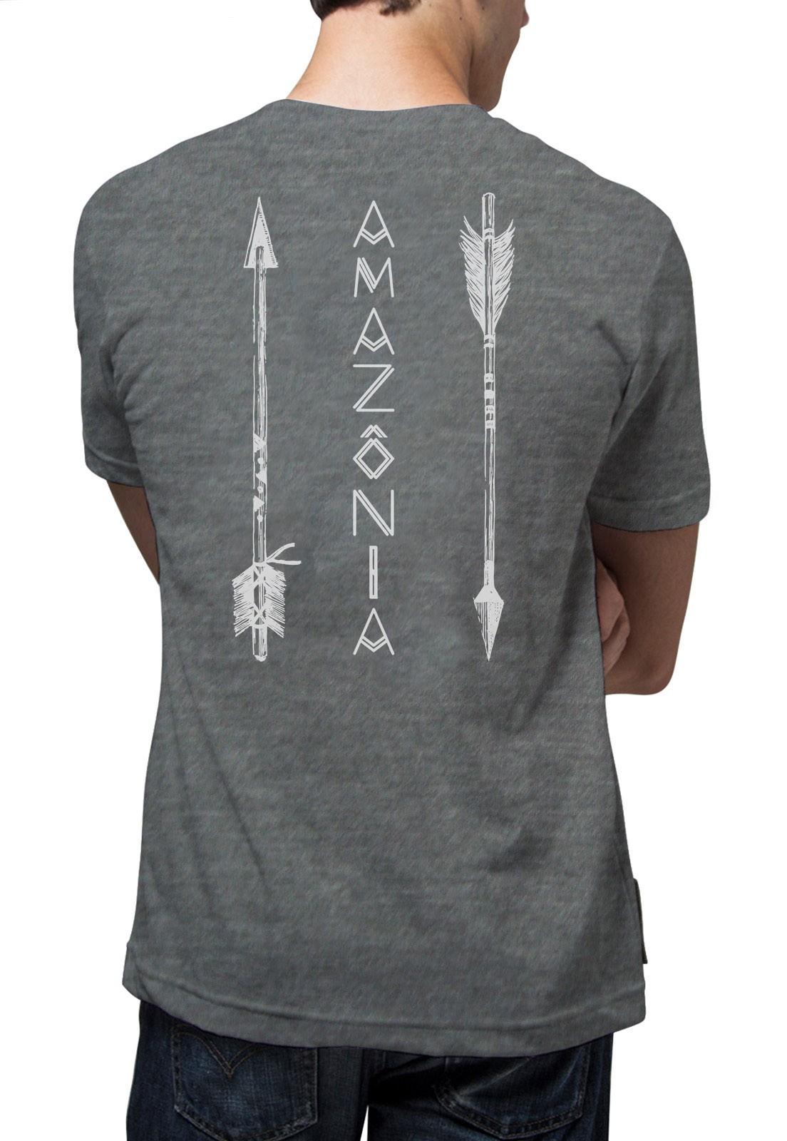 Camiseta Amazônia Flechas - Cinza Mescla
