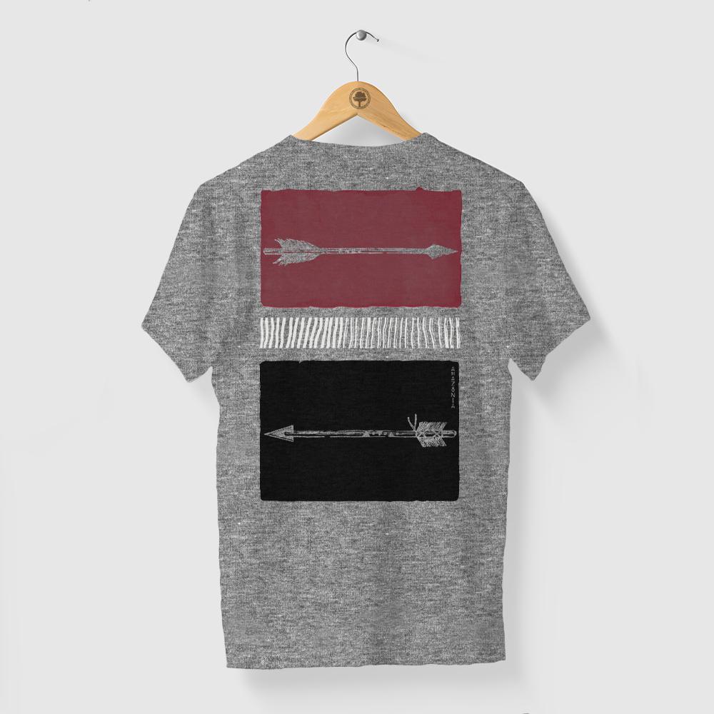 Camiseta Amazônia FLECHAS CORES - MESCLA CINZA