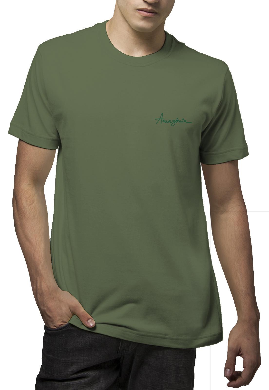 Camiseta Amazônia Flor Cocar - Verde Escuro