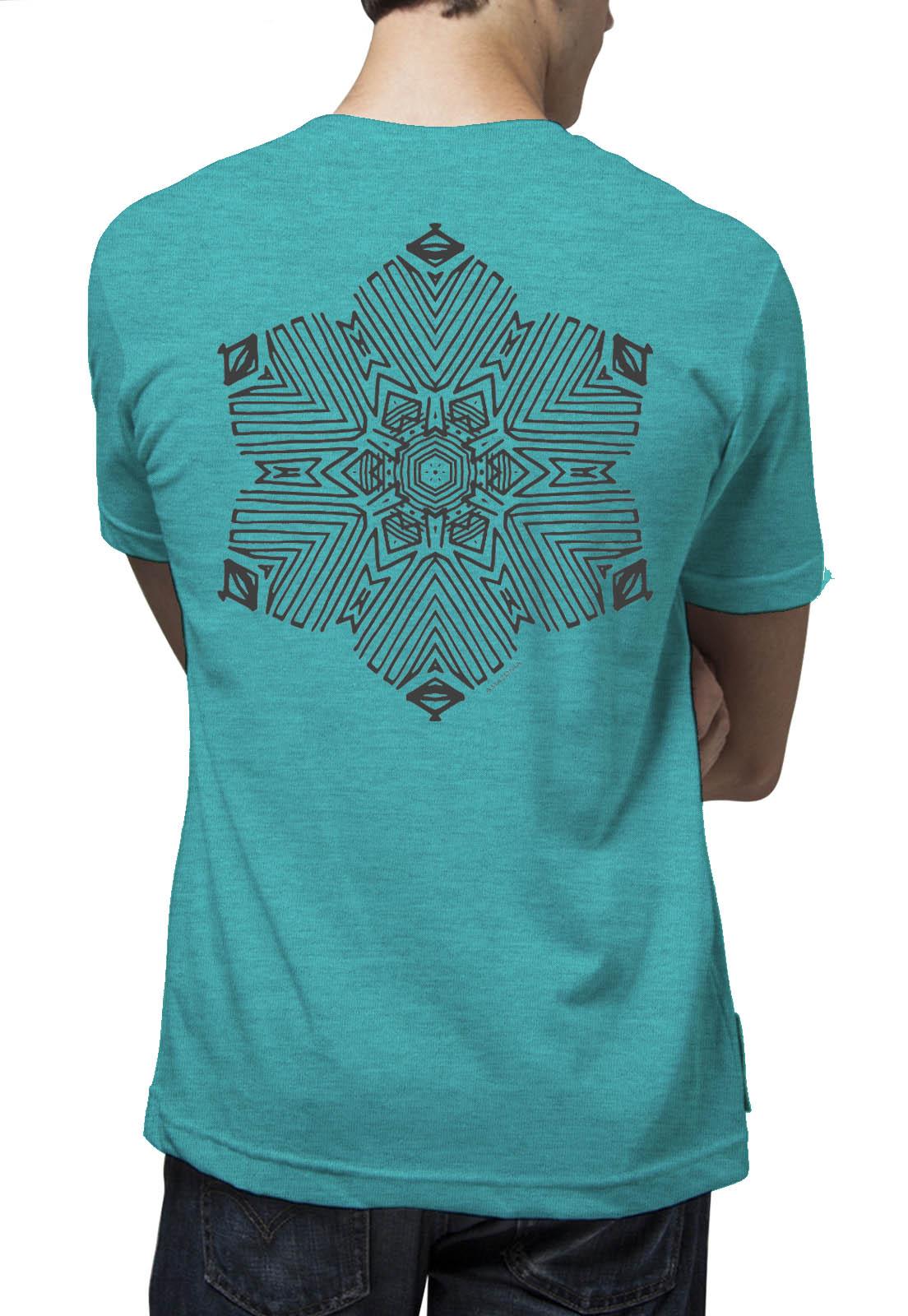 Camiseta Amazônia Flor Grafismo - Mescla Azul