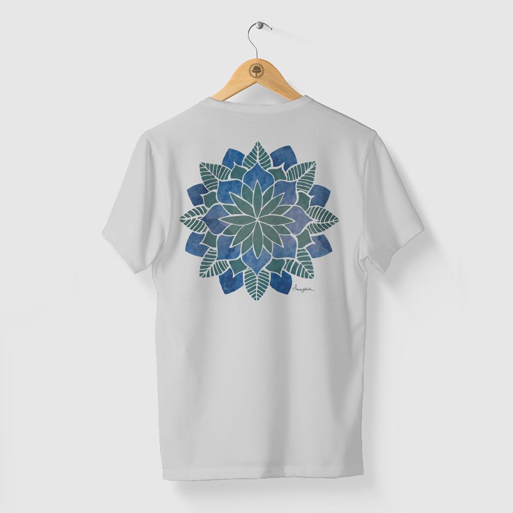 Camiseta Amazônia FLOR MANDALA - CINZA CLARO