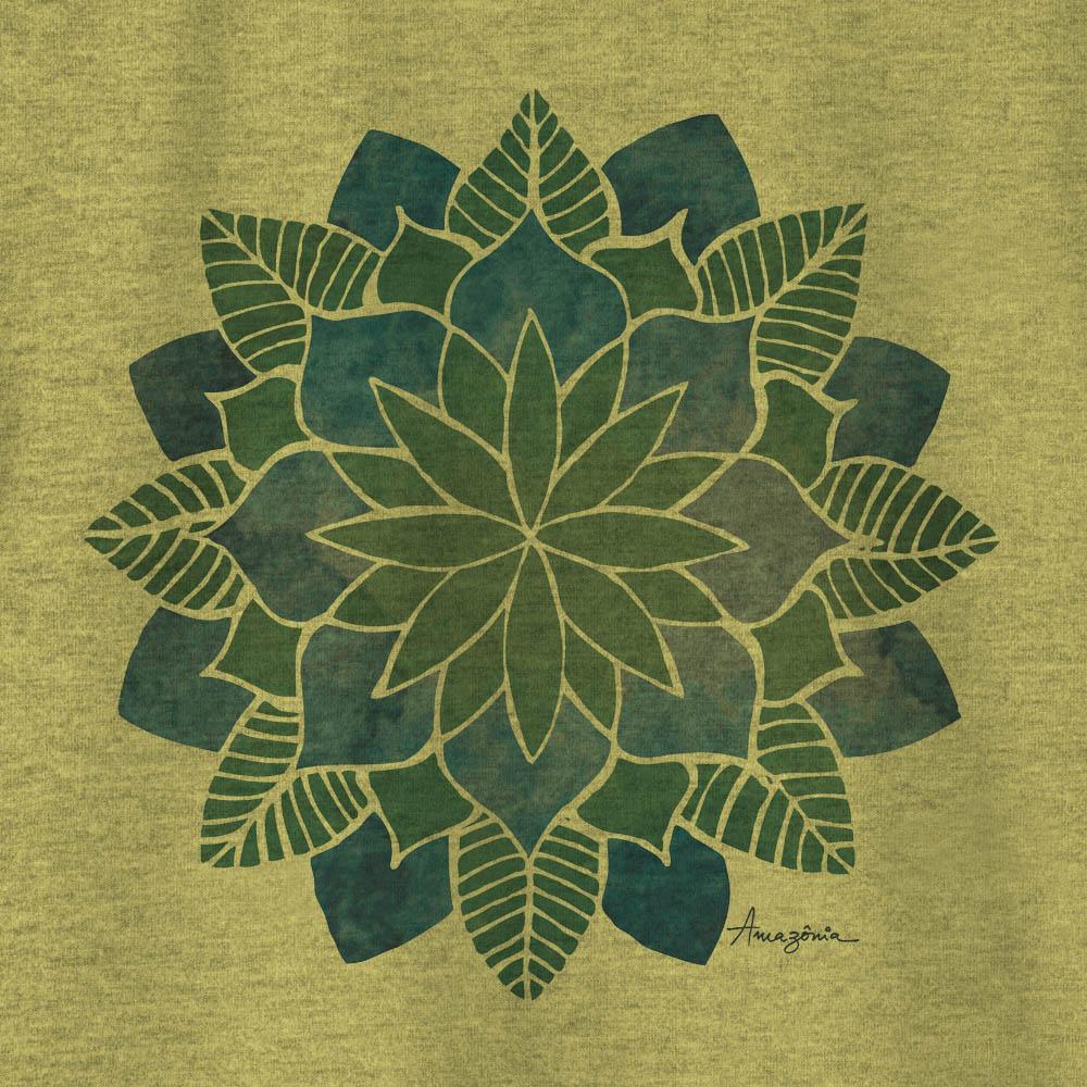 Camiseta Amazônia FLOR MANDALA - MESCLA AMARELO
