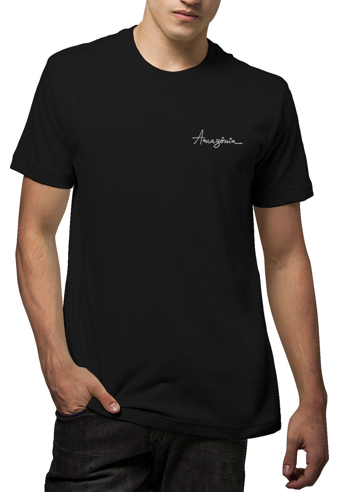 Camiseta Amazônia Flor Pintura - Preto