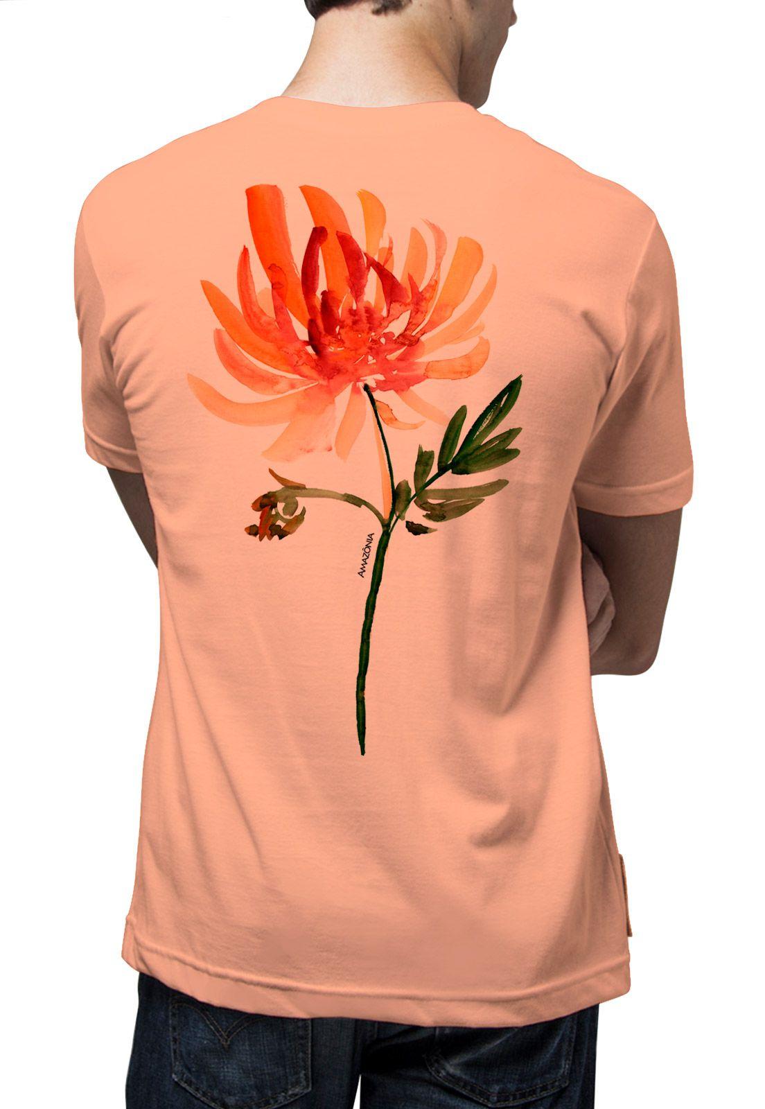 Camiseta Amazônia Flor - Salmão