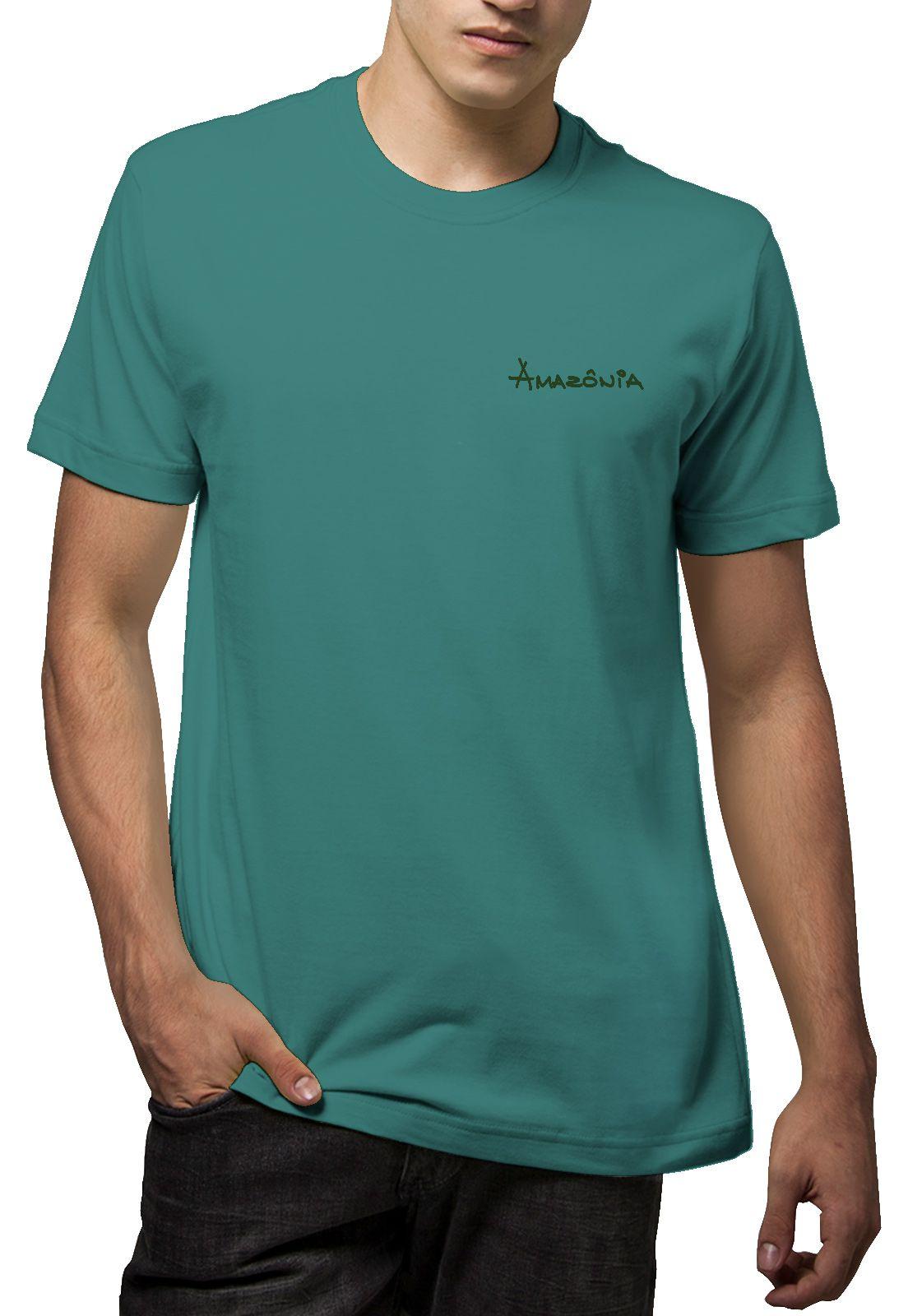 Camiseta Amazônia Folha Arte Gráfica - Azul