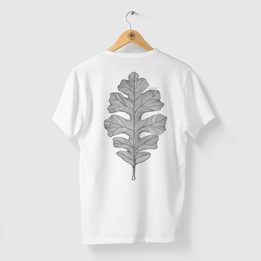 Camiseta Amazônia Folha Arte Gráfica - Branco