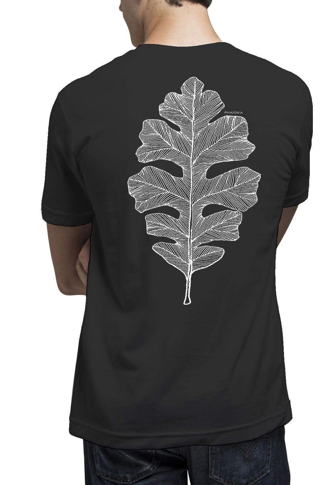 Camiseta Amazônia Folha Arte Gráfica - Preto