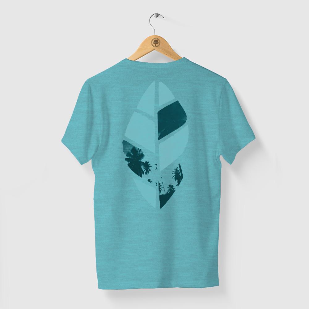 Camiseta Amazônia Folha Paisagem - Mescla Azul