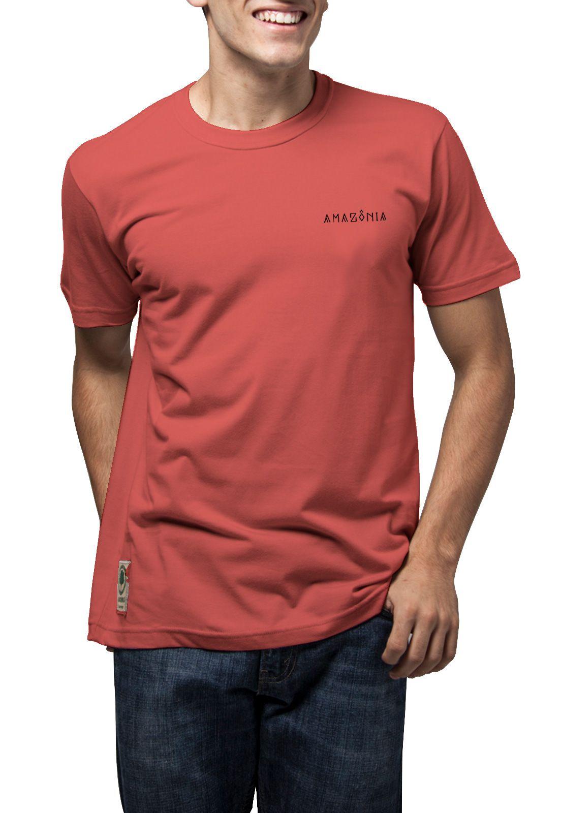 Camiseta Amazônia Folha Paisagem - Vermelho