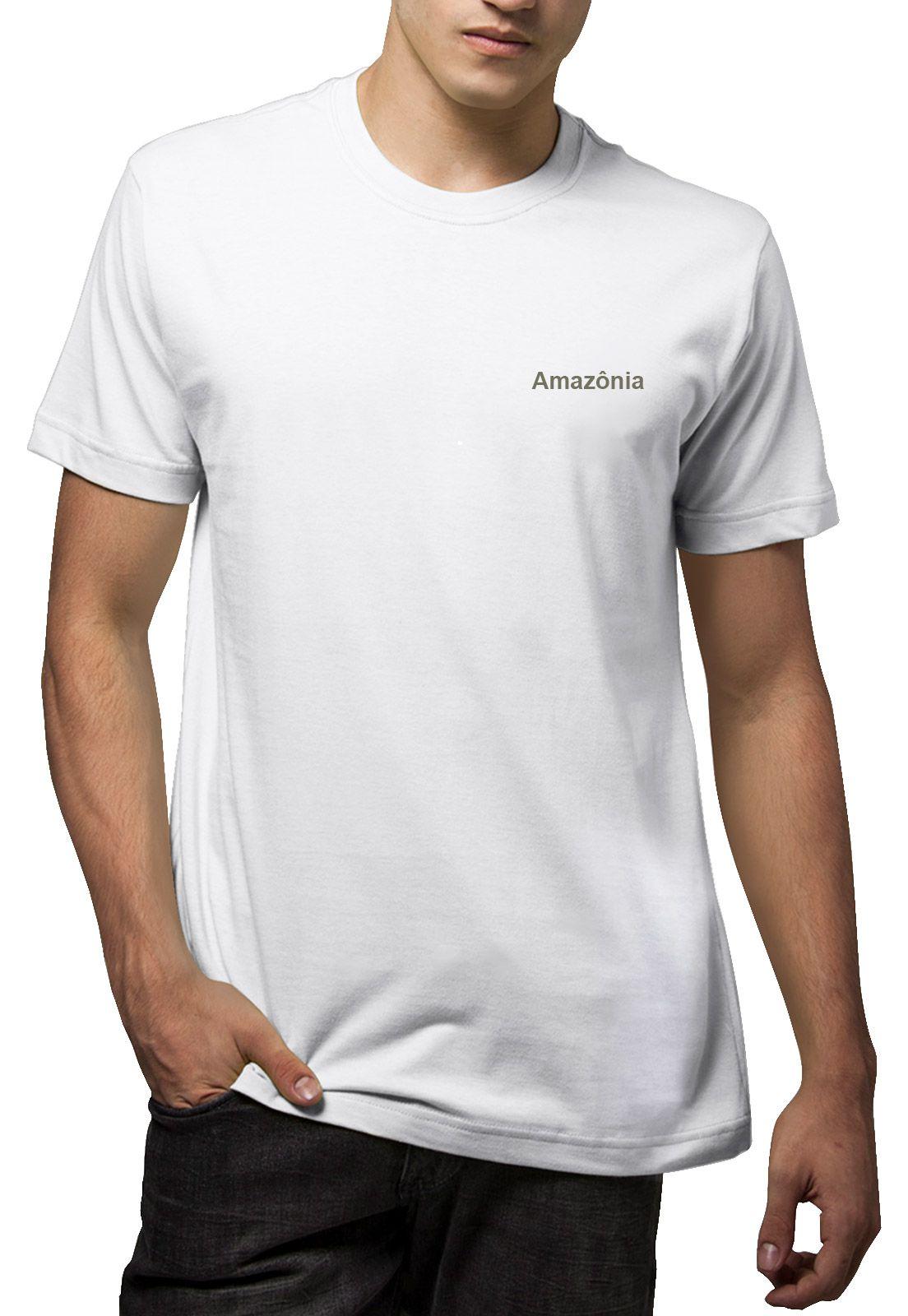 Camiseta Amazônia Folha Palmeira - Branco