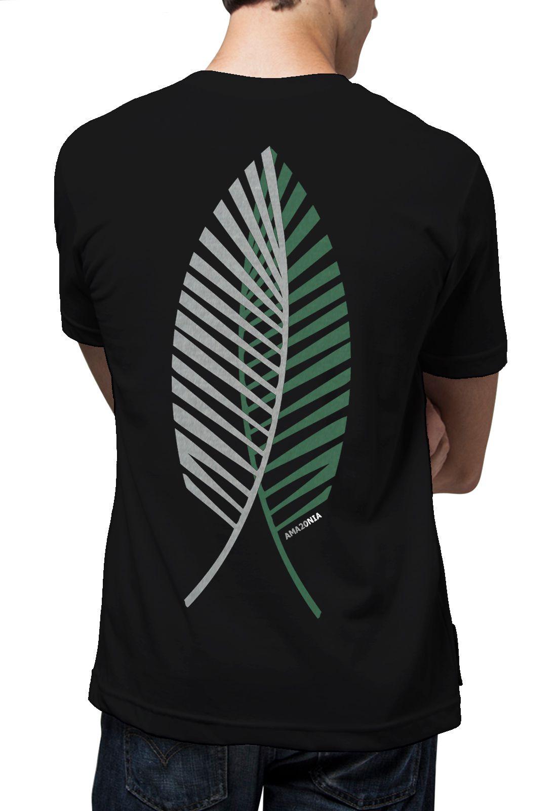 Camiseta Amazônia Folha Palmeira - Preto