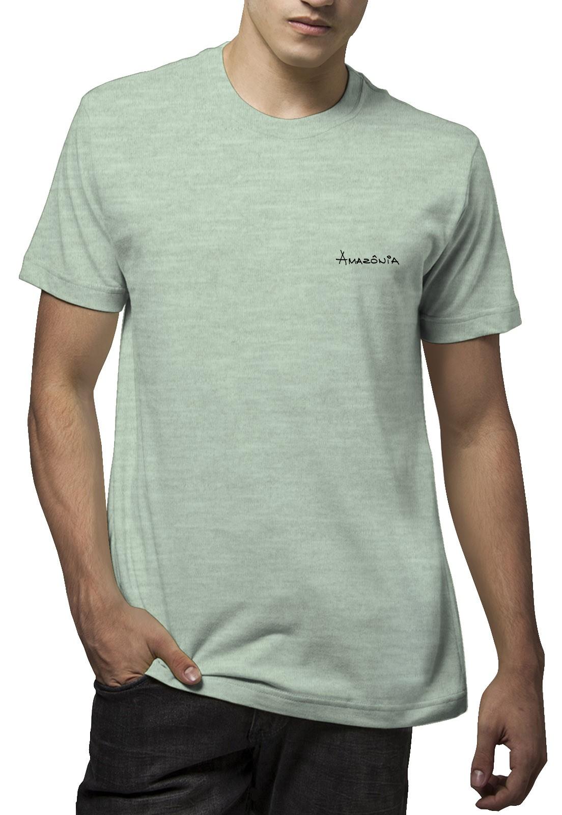 Camiseta Amazônia Folha Tartaruga - Mescla Verde