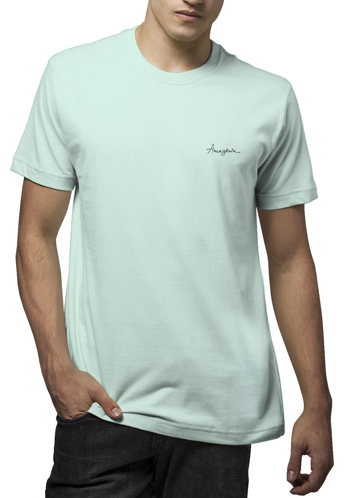 Camiseta Amazônia Folha Traços - Verde Claro